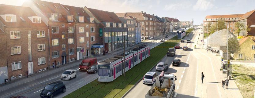 Letbanen i Aarhus som den kommer til at se ud på Randersvej